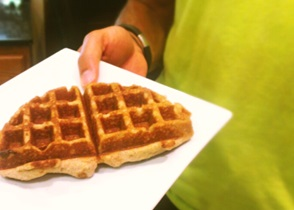 "This was the first ""test"" waffle; this is actually SO tasty you do not even need syrup!"